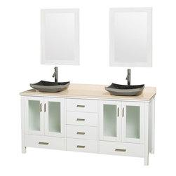 "Wyndham Collection - Lucy Vanity in White, Ivory Marble Top, Altair Black Granite Sink, 24"" Mirrors - The Lucy double bathroom vanity by Wyndham Collection is as beautiful as it is functional. The modern design puts a visual emphasis on clean lines, luxurious natural marble, abundant storage for two, and is at home in almost every bathroom decor. Included in the Lucy double bathroom vanity are either solid White Carrera Marble or Ivory Marble counters, a multitude of sink options, and a pair of matching mirrors. Featuring soft-close door hinges, you'll never hear a door slam shut again! Sure to inspire imitators, the original Wyndham Collection sets new standards for design and construction."