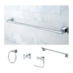 None - Chrome 4-piece Bathroom Accessory Set - Complete the look of your bathroom remodeling project with this elegant bathroom accessory set. The four-piece set comes in a polished-chrome finish for added beauty and shine,and the set comes with all mounting hardware for easy installation.