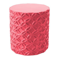 Stray Dog Designs - Stray Dog Designs Flower Stool and Accent Table - Pretty interlocking flowers in relief. So cute, and sturdy enough to use as a side table or a comfortable seat. This Stool/Accent Table is papier mache, handmade from recycled materials by artisans in Haiti.