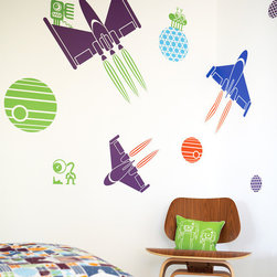 Boodalee Wall Stickers - Space Wall Stickers - 4...3...2...1...Blast Off!
