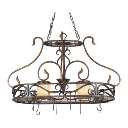 Kenroy Home - Kenroy Home 90505 2 Light Pot Rack Verona Collection - *Verona Pot Rack with Down LightsFeatures Copper Vintage Scavo GlassIncludes Hooks2 100w Medium Base (Not Included)
