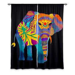 """DiaNoche Designs - Window Curtains Unlined by Pom Graphic Design - Whimsical Elephant II - DiaNoche Designs works with artists from around the world to print their stunning works to many unique home decor items.  Purchasing window curtains just got easier and better! Create a designer look to any of your living spaces with our decorative and unique """"Unlined Window Curtains."""" Perfect for the living room, dining room or bedroom, these artistic curtains are an easy and inexpensive way to add color and style when decorating your home.  The art is printed to a polyester fabric that softly filters outside light and creates a privacy barrier.  Watch the art brighten in the sunlight!  Each package includes two easy-to-hang, 3 inch diameter pole-pocket curtain panels.  The width listed is the total measurement of the two panels.  Curtain rod sold separately. Easy care, machine wash cold, tumble dry low, iron low if needed.  Printed in the USA."""