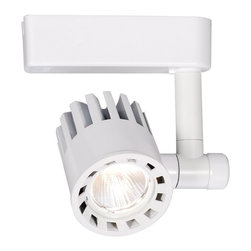 "WAC - WAC 2700K 40 Degree White LED Track Head for Juno Tracks - Offer directional lighting to your home with this white track head featuring energy efficient LEDs with a 2700K color temperature. Rotates 355 degrees horizontally and 180 degrees vertically with a 40 degree beam spread giving you plenty of options. Dimmable to 10 percent with an electronic low voltage dimmer. From the WAC LEDme® Exterminator Collection. Made by WAC but for use with Juno track lighting systems. Made by WAC for use with Juno track systems. White finish. 40 degree beam spread. Includes 23 watt LED. 2700K color temperature. Light output is 1453 lumens. Comparable to a 100 watt incandescent bulb. CRI is 80. Dimmable to 10 percent with electronic low voltage dimmer. 355 horizontal rotation and 180 vertical aiming. 6 1/2"" high. 2 3/4"" wide.   Made by WAC for use with Juno track systems.  White finish.  40 degree beam spread.  Includes 23 watt LED.  2700K color temperature.  Also available with a 3000K color temperature.  Light output is 1453 lumens.  Comparable to a 100 watt incandescent bulb.  CRI is 80.  Dimmable to 10 percent with electronic low voltage dimmer.  355 horizontal rotation and 180 vertical aiming.  6 1/2"" high.  2 3/4"" wide."