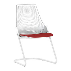 Herman Miller - Sayl Side Chair, Sled Base - An attention-getting pattern in the backrest is highlighted in this lovely chair. Its crisscross pattern is reminiscent of an intricate weave and piques your curiosity even more when you squint at it!