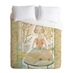 DENY Designs - DENY Designs Cori Dantini Always Thoughtful Duvet Cover - Lightweight - Turn your basic, boring down comforter into the super stylish focal point of your bedroom. Our Lightweight Duvet is made from an ultra soft, lightweight woven polyester, ivory-colored top with a 100% polyester, ivory-colored bottom. They include a hidden zipper with interior corner ties to secure your comforter. It is comfy, fade-resistant, machine washable and custom printed for each and every customer. If you're looking for a heavier duvet option, be sure to check out our Luxe Duvets!