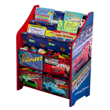 Adarn Inc - Children Kids Disney Pixar's Cars Book and Toy Multi Bin Storage Organizer - Make cleaning and organizing fun with the Disney's Cars Book and Toy Organizer. Your little one will love the bright colors and Cars movie theme characters. The unit has two Disney Cars book shelf racks, which displays books with their covers front-facing for easy access. The Cars toy organizer comes with four large fabric bins that offer plenty of storage space for all your child's favorite toys. Complements other items sold separately online by children's products. With a brand new color scheme, and six uniquely sized storage boxes, this organizer makes cleaning up easy and exciting. Meets all JPMA safety standards. Some assembly required.