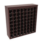 Wine Racks America - 64 Bottle Deluxe Wine Rack in Premium Redwood, Walnut Stain + Satin Finish - Styled to appear as wine rack furniture, this wooden wine rack will match existing decor while storing 64 bottles of wine. Designed to look like a freestanding wine cabinet, the solid top and sides promote the cool and dark storage area necessary for aging wine properly. Your satisfaction and our racks are guaranteed.