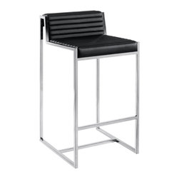 Nuevo Living - Zola Counter Stool, Black - This impeccably designed counter stool of polished stainless steel and luxurious Italian leather will look fantastic in your favorite modern setting. Then, take a seat and experience the comfort of its cushioned seat back and footrest.