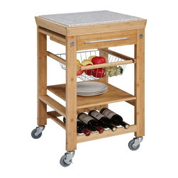 Linon - Bamboo Work Island w Granite Top - Granite top inlay. 2 Towel hooks. Slide out wire storage basket. 1 Fixed shelf. 4 Bottle wine storage rack. Spacious pull out storage drawer and chrome finished hardware. Heavy duty locking rubber casters for easy mobility and safety. Minimal assembly required. 22 in. W x 22 in. D x 32.60 in. HExpand your kitchen workspace with this work island featuring an elegant granite top inlay, constructed of solid bamboo. The cart is complete with chrome finished hardware. The back of the cart is fully finished. Small enough to store neatly in your kitchen, yet large enough to provide extra work space needed.