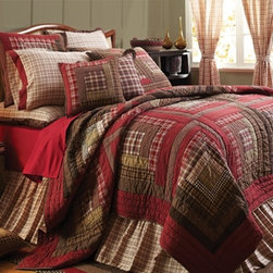 Country Bedding - TACOMA QUILT ENSEMBLE-Decorate your master suite, guest bedroom or ranch house with stylish quilt bedding ensemble. The Tacoma Quilt Ensemble is a Classic American style... A stunning set with country charm to enhance room with this cozy Tacoma Quilt Set. The Tacoma Quilt Collection by Victorian Heart is a richly colored log cabin style bedding set with beautiful texture and exquisite detailing by Victorian Heart with rustic reds, browns, cream and tan. . The Tacoma bedding by Victorian Heart has a fashionable blend of patch work fabrics for texture and has a self piped border. The Tacoma quilt by Victorian Heart offers a variety of applique & patch work pillows, comes in oversize twin, queen and king sizes.
