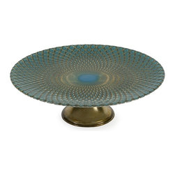 IMAX CORPORATION - Ege Glass Plate Stand - Turquoise and delicate gold pattern accent the Ege glass plate stand nicely for an exquisite display of hors d'oeurves, cakes delicatessens or simply of tabletop decor. Food safe. Find home furnishings, decor, and accessories from Posh Urban Furnishings. Beautiful, stylish furniture and decor that will brighten your home instantly. Shop modern, traditional, vintage, and world designs.