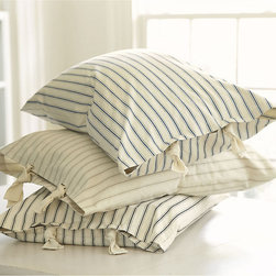 Ballard Designs - Ticking Stripe Sham - Navy - Coordinates with our Ticking Stripe Duvet & Bedskirt. Machine washable. When we found our vintage Ticking Stripe fabric, we knew it belonged in the bedroom. The Sham is hand finished in 100% cotton with same stripe reverse. Standard size has cotton twill ties. Euro features envelope closure. Ticking Stripe Sham features: . .
