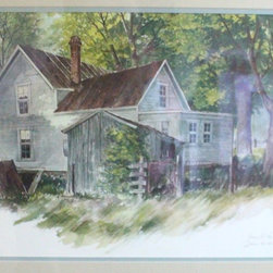 Watercolor Farmhouse Painting Signed - farm house painting artist signed water color,