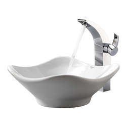 Kraus - Kraus C-KCV-135-14700CH White Tulip Ceramic Sink and Illusio Faucet - Add a touch of elegance to your bathroom with a ceramic sink combo from Kraus