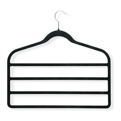 Honey Can Do - Velvet Touch 4-step Hanger in Black - Pack of - Non-slip velvet finish. Prevents clothes from slipping. Super-slim tiered design. Hang 4 garments in space of 1. Swivel hooks. Easy hanging. 17.25 in. L x 0.2 in. W x 17.32 in. H (0.119 lbs.)Honey-Can-Do HNG-01340 Four-Tier Velvet-Touch Skirt/Pant Hanger, Black. Maximize your closet space by hanging up to 4-pair of pants vertically with this 4-tier Velvet-Touch Hanger. Durable metal construction provides strength, reliability, and long-lasting beauty. Black velvet coating is gentle on delicate garments and provides a non-slip surface that holds fabrics beautifully in place. Can also be used for belts, scarves, or ties. Rotate hanging sides by tier for greatest space-saving capacity.