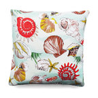 Pedro Outdoor Pillow - A vintage style print of one of the seas shells graces the top of this pillow beautifully. This polyester pillow is ideal for a wicker rocking chair or on a covered patio's bench. Bring the magic of the sea into your space and add a playful touch to your coastal decor. Beautiful sea foam and cream make for a soothing, calming look that works well with transitional decor.