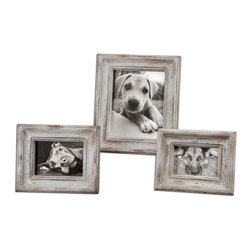 """Uttermost - Uttermost Niho Ivory Photo Frames Set of 3 18565 - Heavily distressed aged ivory finish with natural wood undertones. Holds photo sizes: 4""""W x 6""""H, 5""""W x 7""""H, 8""""W x 10""""H. Frame sizes: Small 8""""W x 10""""H, Medium 9""""W x 11""""H, large 12""""W x 14""""H."""