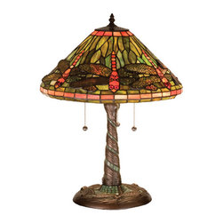 "Meyda Tiffany - 21""H Tiffany Dragonfly W/ Twisted Fly Mosaic Base Table Lamp - One of Tiffany Studio's most beloved dragonfly design, modeled after the hanging head dragonfly. Diving dragonflies with glowing Scarlet jeweled eyes and delicate metal filigree wings circle over hand cut and copper foiled pieces of Pond Green art glass. Sunset Sky bands circle the top and bottom of the stained glass shade. A Pond Green glass mosaic inlay spirals down the hand finished Mahogany Bronze base that is accented with a circle of cast metal dragonflies."