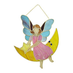 Zeckos - Stained Glass Moon and Stars Fairy Wall Plaque - This charming stained glass wall plaque features fairy in a pink dress sitting on a yellow crescent moon, holding a star. It measures 10 inches tall, 8 inches wide, 1 inch deep and is crafted from beautiful pieces of colored glass. Display alone or in a group, on the wall or as suncatchers. NOTE: Suction cup not included.