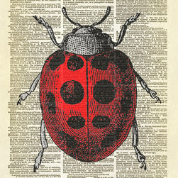Altered Artichoke - Ladybug Dictionary Art Print, Full Color - This print features a beautiful antique illustration of a ladybug. We've colored her red - or you can choose the antique brown sepia version. Isn't she lovely?