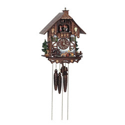 Schneider Cuckoo Clocks - 1-Day Tudor Style Black Forest House Cuckoo Clock - 1-day rack strike movement. Beer drinker, mill wheel and dog move at half hour and full hour. New wooden dial with roman numerals and hands. Wooden cuckoo calls and strikes every half and full hour. Shut-off lever on left side of case silences strike, call and music. 2.22 music on the half and full hour. Solid wood hand crafted and painted four brown dancing figurines. Made from wood. Antique finish. Made in Germany. 10 in. W x 7.9 in. D x 13 in. H. Care Instructions