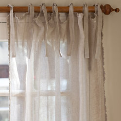 "Ruffle Natural Linen Curtain Panel, 42""x 96"""
