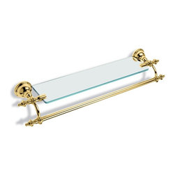 "Gold Vintage 24 Inch Towel Bar with Glass Shelf by StilHaus - Designed and manufactured in Italy by StilHaus. Vintage style wall mounted 24 inch round towel bar with classic glass shelf attached. Made out of high quality brass and transparent glass and available in a gold finish.  Towel bar dimensions: 24.00"" (width), 2.80"" (height), 5.90"" (depth)"