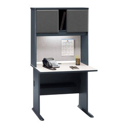 "Bush - Bush Series A 36"" Computer Desk with Hutch in Slate - Bush - Office Sets - WC8436APKG1 - Bush Series A 36"" Wood Computer Desk in Slate (included quantity: 1) Efficiency and simplicity are the essences of the Bush Series A 36"" Desk. This economical desk has a smoothed linear design that makes it a sturdy yet inviting workspace for any office suite. This desk will blend beautifully with any Series A Collection piece.  Features:"