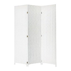 Pensacola Screen - 3 Panel Screen is made of soft wood fibers strands woven in a basket weave.  This handmade screen is finished on both sides.