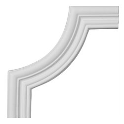 """Ekena Millwork - 7 3/4""""W x 7 3/4""""H Swindon Panel Moulding Corner - 7 3/4""""W x 7 3/4""""H Swindon Panel Moulding Corner. Our beautiful panel moulding and corners add a decorative, historic, feel to walls, ceilings, and furniture pieces. They are made from a high density urethane which gives each piece the unique details that mimic that of traditional plaster and wood designs, but at a fraction of the weight. This means a simple and easy installation for you. The best part is you can make your own shapes and sizes by simply cutting the moulding piece down to size, and then butting them up to the decorative corners. These are also commonly used for an inexpensive wainscot look."""
