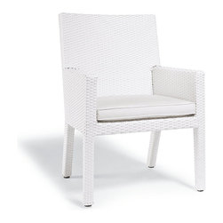 Frontgate - Palermo Dining Arm Chair Cushion, Patio Furniture - Premium, high-performing fabrics. UV-treated to resist fading. Solution-dyed for added durability. High-resiliency foam core with soft polyester wrap provides years of support without sagging. Sold as a complete cushion set (number of cushions varies depending on furniture piece). Our Palermo Replacement Cushions instantly update the seating with comfort and all-weather endurance. The cushions' high-performing fabrics resist fading, staining, and mildew. Comfortably thick fill holds its loft and dries quickly after a downpour. Part of the Palermo Collection.  .  .  .  .  . Includes cushions only; all furniture pieces sold separately .