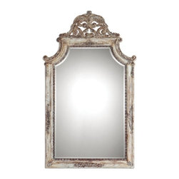 Unity- Mirror - French Style Ornately Carved Frame with Distressed Ivory Finish