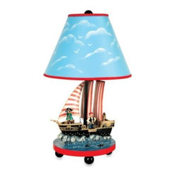 Guidecraft - Guidecraft Table Lamp in Pirate - This charming table lamp is a perfect accent for your child's room, with a sailing pirate ship on the base and a bright blue sky on the shade above.