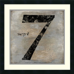 Amanti Art - Oliver Jeffries 'Sept' Framed Art Print 22 x 22-inch - Whether you admire the number seven for its significant mark to the worlds of science, math, music, spirituality, or just deem it as lucky number seven, you can show it off with this framed decor piece by Oliver Jeffries.
