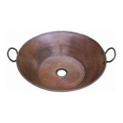 "Asian Style Bathroom - Belle Foret BFC16-ORB 19"" Diameter Countertop 18 Gauge Copper Lavatory Sink: Oil Rubbed Bronze"