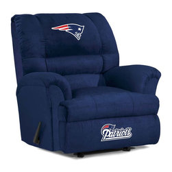 Imperial International - New England Patriots NFL Big Daddy Recliner - Check out this AWESOME Big Daddy Recliner. It's made especially for the Big and Tall Fan, and is incredibly comfortable. It has a very contemporary design featuring team color microfiber all over the recliner. It will comfortably support up to 350 pounds for many years to come. Each team logo is embroidered and sewn on the center headrest and footrest. This is a true statement piece that is perfect for your Man Cave, Game Room, basement or garage.