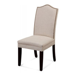 Bassett Mirror - Set of 2 Camelback Nailhead Parson Natural Linen Chair - The Bassett Mirror Camelback Parsons Chair features hardwood legs, a Jefferson linen fabric, and a camelback profile back with a nail head trim.