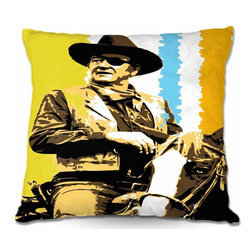DiaNoche Designs - Pillow Woven Poplin - The Duke, John Wayne - Toss this decorative pillow on any bed, sofa or chair, and add personality to your chic and stylish decor. Lay your head against your new art and relax! Made of woven Poly-Poplin.  Includes a cushy supportive pillow insert, zipped inside. Dye Sublimation printing adheres the ink to the material for long life and durability. Double Sided Print, Machine Washable, Product may vary slightly from image.
