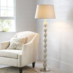 """Jolie Mother-of-Pearl Mosaic Floor Lamp Base - Mother-of-pearl lends iridescent luster to our floor lamp's stately shape. 10"""" diameter, 62"""" high Crafted of brass and mother-of-pearl. On/off switch at socket. Satin nickel finish on metal. Pair with one of our Extra-Large Mix & Match Shades (sold separately). UL-listed. Title 20 compliant lamps will be shipped to CA addresses. {{link path='pages/popups/california_code_popup.html' class='popup' width='480' height='300'}}Learn more{{/link}} to understand product differences."""