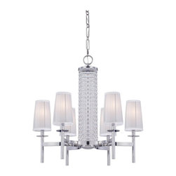 Designers Fountain - Designers Fountain 83986 Candence 6 Light Chandelier in Chrome Finish Multicolor - Shop for Chandeliers from Hayneedle.com! Sure to shine bright in your foyer or dining space with its fresh take on timeless design the Designers Fountain 83986 Candence 6 Light Chandelier in Chrome Finish is a celebration of both style and substance. The crystal bead-accented center column adds a hint of drama to the sleek chrome finish while silver organza fabric shades lend a dash of elegance to the candle-style lamps. Six 60-watt incandescent candelabra base bulbs (not included) emit a warm glow for atmospheric dining and entertaining making this handsome fixture the perfect addition to any modern home.About Designers FountainHeadquartered in sunny Los Angeles Designers Fountain lets you show off your creative side. Indulge yourself and your home with a range of lighting styles from contemporary to classic each crafted with care from high-quality materials. Designers Fountain supplies lighting fixtures to over 1 200 authorized North American dealers and sources designs from across the world. Get quality lighting that enhances your home while impressing you with its affordable price... only from Designers Fountain.