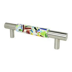 """Pierre Habitat - Contemporary Cabinet Pull - Make all your home cabinetry """"pop"""" with these stylish Contemporary Cabinet Pulls from Pierre Habitat. Made with recycled glass that is totally green and sustainable. These pulls not only look good, they are good - for both you and the planet.  Planet-Friendly Hardware designed for you by Pierre Habitat. Sold Single."""