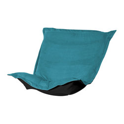 Howard Elliott - Mojo Turquoise Puff Chair Cushion - Extra Puff Cushions in Mojo are a great way to get a fresh new look without the expense of buying a whole new chair! Puff Cushions fit Scroll and Rocker frames. This Mojo cushion features a suede-like texture in a vibrant blue color. Mojo Turquoise, suede-like texture in a bold turquoise blue color. 40 in. W x 49 in. L x 7 in.