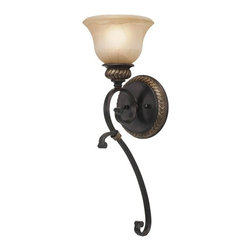 Golden Lighting - Jefferson 1-Light Wall Sconce - Bulb not included. Requires one incandescent type A 100 watt medium base bulb. One E27 socket. Total wattage: 100. Electric wire gauge: 18# +250mm 150 degree C. Traditional style. Sculpted arms. Decorative brace and intricate feel. Thick antique marbled glass shade. UL listed for damp location. Made from metal and polyresin. Etruscan dark bronze color. Wire length: 8 in.. Extension: 7.5 in.. Glass shade: 7 in. Dia. x 4.5 in. H. Back plate extension: 1.13 in.. Back plate: 6.25 in. Dia.. Overall: 7 in. W x 22 in. H. Warranty. Assembly Instructions