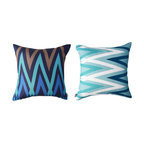 Kaypee Soh - Ziggy Pillow - Midnight - Ziggy - Get crazy for chevron! Soh's take on the classic zig zag is fresh, fun and bold. Pair it with a graphic floral like our Monstera or Plumeria pattern for a great match.