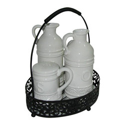 Home Essentials - White Ceramic Scroll Style Oil And Vinegar Set - Make seasoning a breeze with this cruet set as your centerpiece! To complete your set, match this with our other ceramic serveware pieces on metal rack. Compliment its unique scroll style designs and touch of elegance. It is easy to store due to its classy handled metal holder! Gift boxed, this set can make a lovely gift for a friend too.