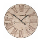 "Uttermost - Harrington 36"" Wooden Wall Clock - This is three feet of Roman numerals that will give your wall a WOW factor. The antique ivory face is gently distressed around the edges and the numerals look as though the Romans themselves singed them into the wood."