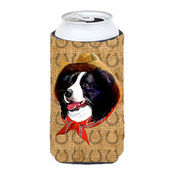 Caroline's Treasures - Border Collie Dog Country Lucky Horseshoe Tall Boy Koozie Hugger - Border Collie Dog Country Lucky Horseshoe Tall Boy Koozie Hugger Fits 22 oz. to 24 oz. cans or pint bottles. Great collapsible koozie for Energy Drinks or large Iced Tea beverages. Great to keep track of your beverage and add a bit of flair to a gathering. Match with one of the insulated coolers or coasters for a nice gift pack. Wash the hugger in your dishwasher or clothes washer. Design will not come off.
