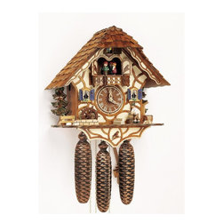 Schneider Cuckoo Clocks - 8-Day Black Forest House Cuckoo Clock w Shingles - 8-day rack strike movement. Individual hand-laid shingles. Woodchopper moves every half and full hour. Water wheel. New wooden dial with roman numerals and hands. Wooden cuckoo calls and strikes every half and full hour. 2.22 music on the full hour. Solid wood hand crafted and painted brown four dancing figurines. Full automatic night-shut-off. Made from wood. Antique finish. Made in Germany. 13.2 in. W x 7.5 in. D x 13.4 in. H (18.1 lbs.). Care Instructions
