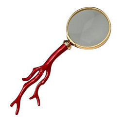 "L'Objet - L'Objet Library Coral Magnifying Glass - L'Objet is best known for using ancient design techniques to create timeless, yet decidedly modern serveware, dishes, home decor and gifts. 24K Gold-PlatingCoral Cabochons Measurements: 8.5"" Luxuriously Gift Boxed"