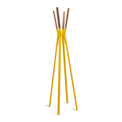 Blu Dot - Blu Dot Splash Coat Rack, Complete Yellow - Powder-coated steel and solid walnut stand at the ready to relieve you of jackets, hats, scarves and bags in style.  Dress it up or keep it naked.  Either way it remains easy on the eyes. Who says utility can�۪t be attractive?  Available in bright blue, complete yellow, putty grey, humble red, and white.Powder-coated steel, Felt pads on bottom of legs, Solid Walnut